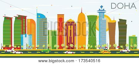 Doha Skyline with Color Buildings and Blue Sky. Business Travel and Tourism Concept. Image for Presentation Banner Placard and Web Site.