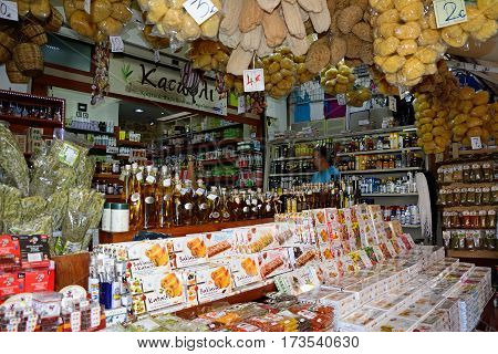 HERAKLION, CRETE - SEPTEMBER 19, 2016 - Food gifts for sale at a city centre shop along Odos 1821 Heraklion Crete Greece Europe, September 19, 2016.
