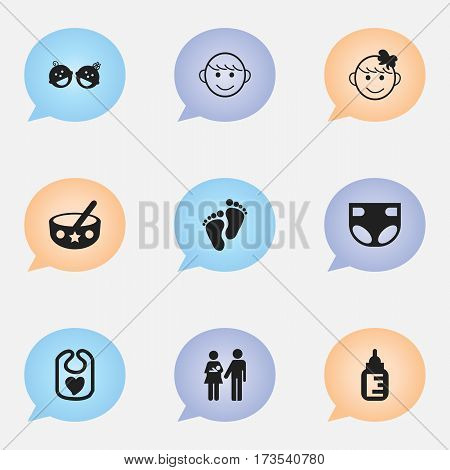 Set Of 9 Editable Infant Icons. Includes Symbols Such As Spoon, Pinafore, Nursing Bottle And More. Can Be Used For Web, Mobile, UI And Infographic Design.