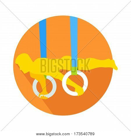 Man on gymnastic rings web button. Sportsman guy, carries out difficult exercise. Sport illustration on white background. Gymnast on rings flat style. Gymnastic rings exercise training sport. Vector