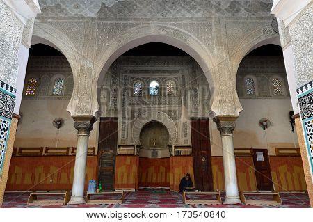 FEZ MOROCCO - NOVEMBER 30: The interior of the Madrasa Bou. Fez on November 30 2015