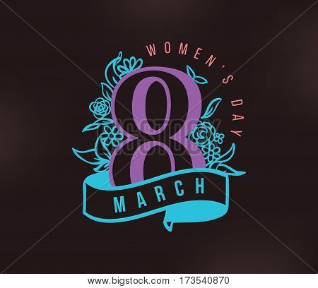 8 March. Womens day background. Vector typography, text design. Usable for banners, invitations, greeting cards gifts etc