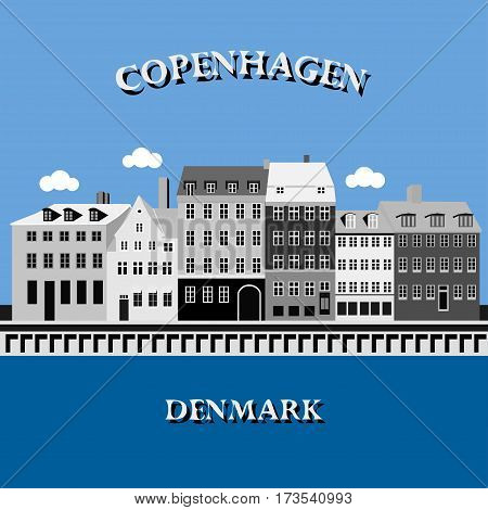 Panoramic view of Nyhavn Harbor, Copenhagen, Denmark. Vector illustration