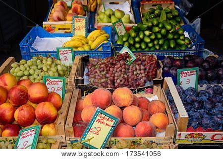 HERAKLION, CRETE - SEPTEMBER 19, 2016 - Fruit and vegetables for sale at a city centre shop along Odos 1821 Heraklion Crete Greece Europe, September 19, 2016.