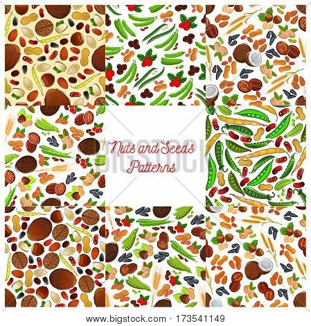 Nuts, grains, seeds vector seamless patterns of healthy nutritious grain, kernels, coconut, almond, pistachio and hazelnut, walnut, pea bean pod and peanut, sunflower, wheat ears, pumpkin seeds