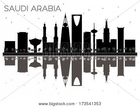 Saudi Arabia skyline black and white silhouette with reflections. Simple flat concept for tourism presentation, banner, placard or web site. Cityscape with landmarks.