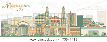 Abstract Managua Skyline with Color Buildings. Business Travel and Tourism Concept with Modern Architecture. Image for Presentation Banner Placard and Web Site.