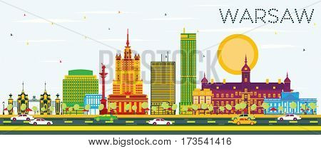 Warsaw Skyline with Color Buildings and Blue Sky. Business Travel and Tourism Concept with Historic Architecture. Image for Presentation Banner Placard and Web Site.