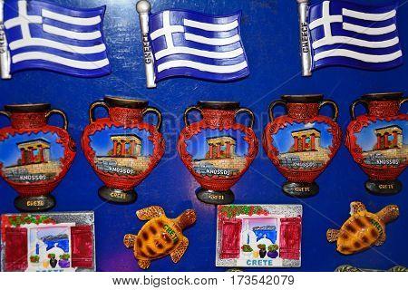 Fridge magnets for sale at a city centre shop along Odos 1821 Heraklion Crete Greece Europe.