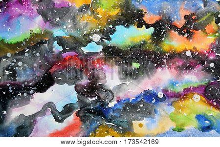 Watercolor galaxy illustration. Raster trendy modern illustration.