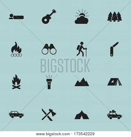 Set Of 16 Editable Trip Icons. Includes Symbols Such As Clasp-Knife, Lantern, Field Glasses And More. Can Be Used For Web, Mobile, UI And Infographic Design.