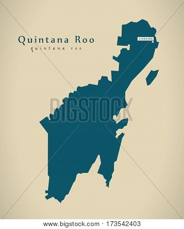 Modern Map - Quintana Roo Mexico Mx Illustration