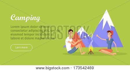 Camping poster. Camping tent near the fire and mountains in the background with lake. Happy family couple making barbecue. Man and woman sitting near the fire. Vector illustration in flat style