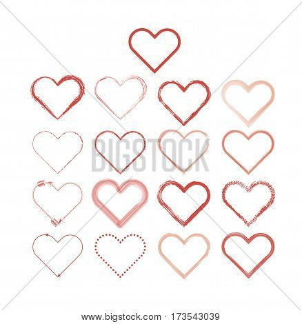 Heart love set vector on a white background