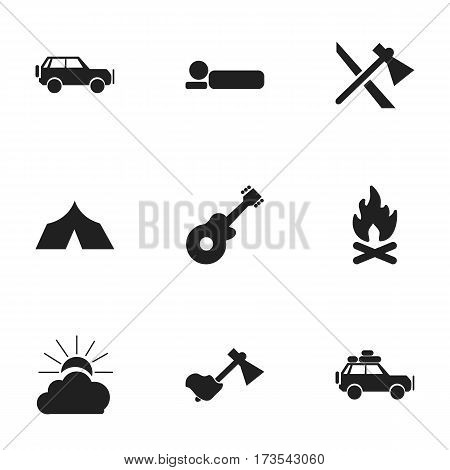 Set Of 9 Editable Travel Icons. Includes Symbols Such As Bedroll, Refuge, Fever And More. Can Be Used For Web, Mobile, UI And Infographic Design.