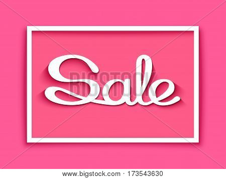 Sale banner with calligraphic inscription on pink background. Vector illustration made in paper cut out style.