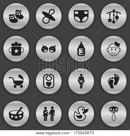 Set Of 16 Editable Child Icons. Includes Symbols Such As Cheerful Child, Soothers, Nappy And More. Can Be Used For Web, Mobile, UI And Infographic Design.