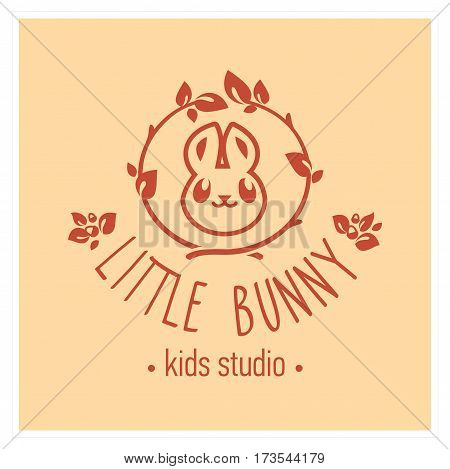 Kids club logo with bunny. Baby, child company goods, toys shop, store, language school. Rabbit icon, animal character. Kindergarten badge