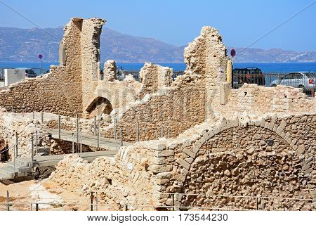 HERAKLION, CRETE - SEPTEMBER 19, 2016 - Ruins of the Monastery of St Peter and St Paul in the area of Kastella Heraklion Crete Greece Europe, September 19, 2016.