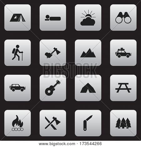Set Of 16 Editable Travel Icons. Includes Symbols Such As Ax, Shelter, Field Glasses And More. Can Be Used For Web, Mobile, UI And Infographic Design.