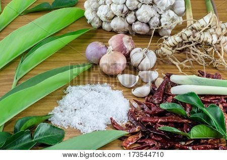 Ingredients of Tom Yam on Thaifood Wood surface