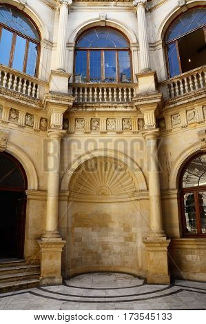 View of the Town Hall courtyard also known as the Venetian Loggia in the city centre Heraklion Crete Greece Europe.