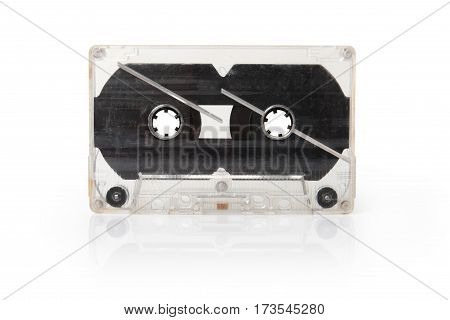 Audio compact cassette (cassette) isolated on white background clipping path.