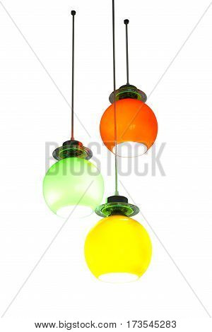 Modern style ceiling lamp isolated on white background clipping path.