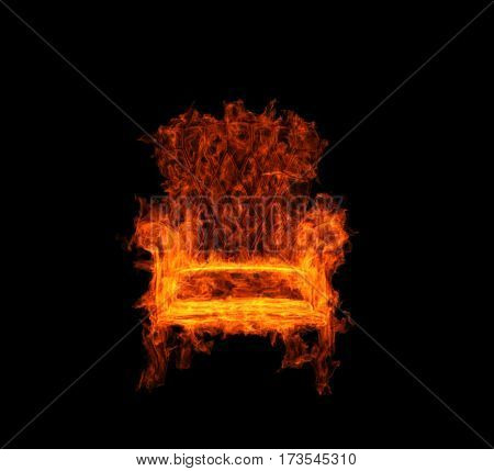 burning armchair on the black background. 3d rendering