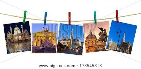 Vienna Austria travel images (my photos) on clothespins isolated on white background