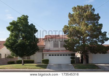 View of nice modern house in summer  environment