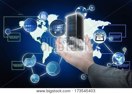 Businesswoman hand gesturing against white background against global app technology 3D
