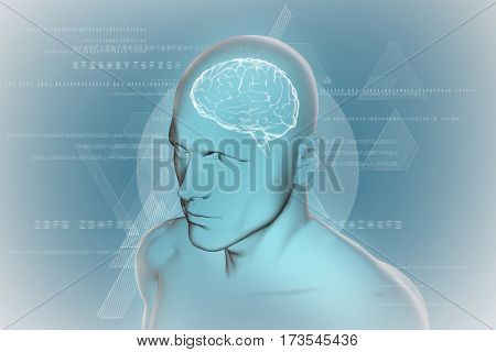 Composite image of brain against blue 3D