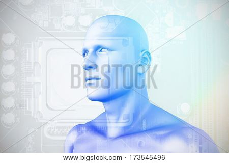 Digital composite of human figure against close-up of circuit board 3D