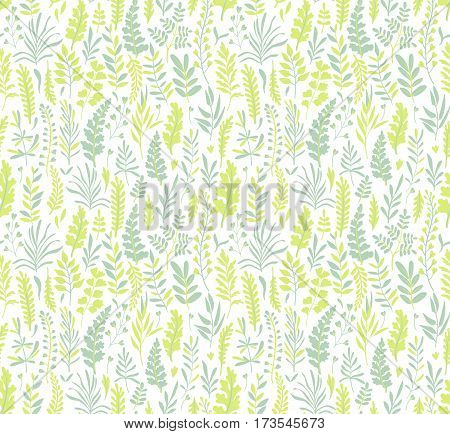 Seamless leaf pattern. Tropical pattern. White background. Cute pattern with green leaves. Green stylized leaf.