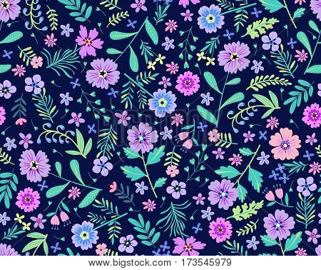Floral pattern. Pretty flowers on dark blue backgroung. Printing with Small-scale purple flowers. Ditsy print. Seamless vector texture. Spring bouquet.
