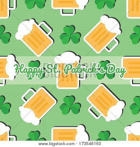 Seamless pattern with leaves of the trefoil and mugs of beer on a green background. Happy St. Patrick's day.