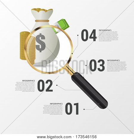 Investment analysis graphic design concept with magnifying glass. Vector illustration.