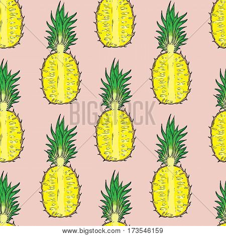 Pattern of cut pineapple. On a pink background. Seamless.