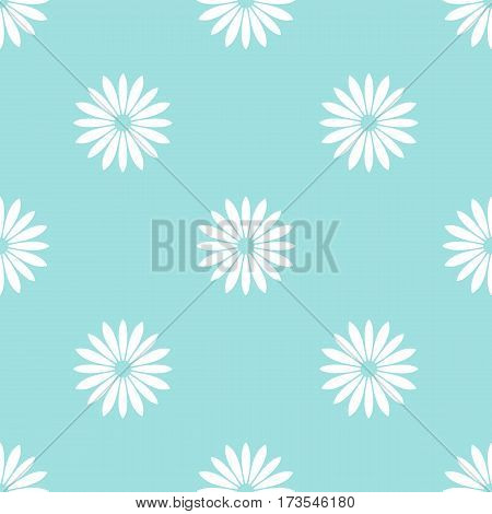 White flowers on light blue background seamless pattern. Repeating floral motif. Vector. Made using clipping mask