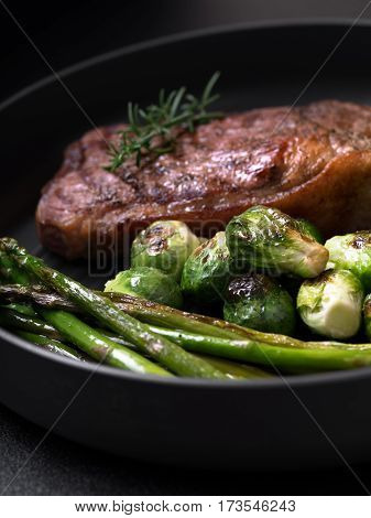 close up view of nice fresh steak on color background