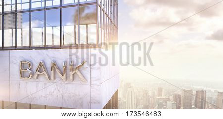 Graphic image of bank building against image of a city landscape on a sunny day