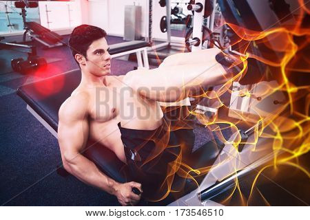 Abstract orange glowing black background against male weightlifter doing leg presses in gym
