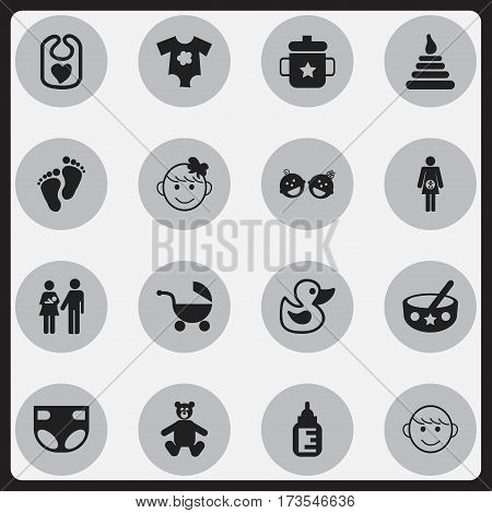 Set Of 16 Editable Kid Icons. Includes Symbols Such As Goplet, Merry Children, Stroller And More. Can Be Used For Web, Mobile, UI And Infographic Design.