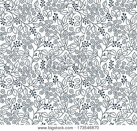 Cute Floral pattern in the small flower. Ditsy print. Motifs scattered random. Seamless vector texture. Elegant template for fashion prints. Printing with small black flowers. White background.