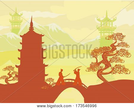 Japanese landscape and Samurai fighters card , vector illustration