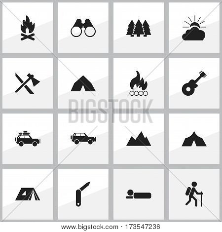Set Of 16 Editable Travel Icons. Includes Symbols Such As Peak, Tomahawk, Pine And More. Can Be Used For Web, Mobile, UI And Infographic Design.