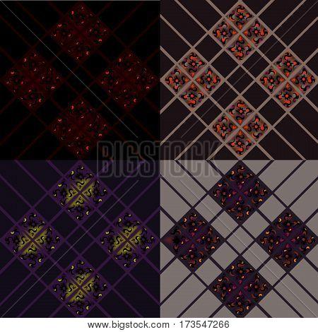 Cellular texture pattern - 4 color - purple, black and vinous
