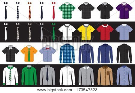set on a white and black background of children's and adult shirts with short and long sleeves neckties