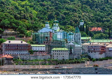 Russian St. Pantaleon Orthodox monastery known as Rossikon at Mount Athos, Agion Oros or Holy Mountain, Chalkidiki, Greece.